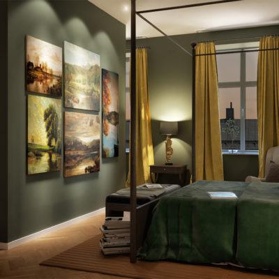 Exclusive apartment bedroom and wardrobe