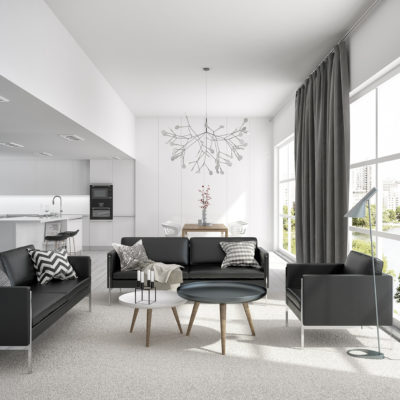 Sofas and an armchair in a minimalist interior